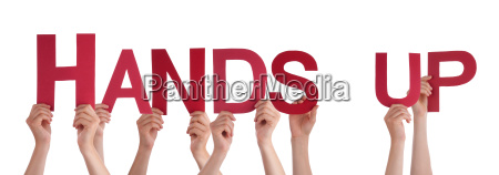 people hands holding red straight word