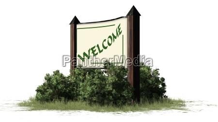 willkommen welcome schriftzug auf