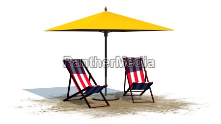 deck chairs and umbrella separated