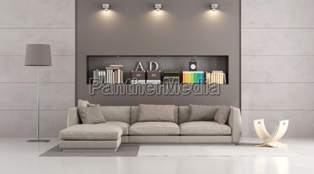 Moderne Sofa In Einem Modernen Wohnzimmer Lizenzfreies Bild