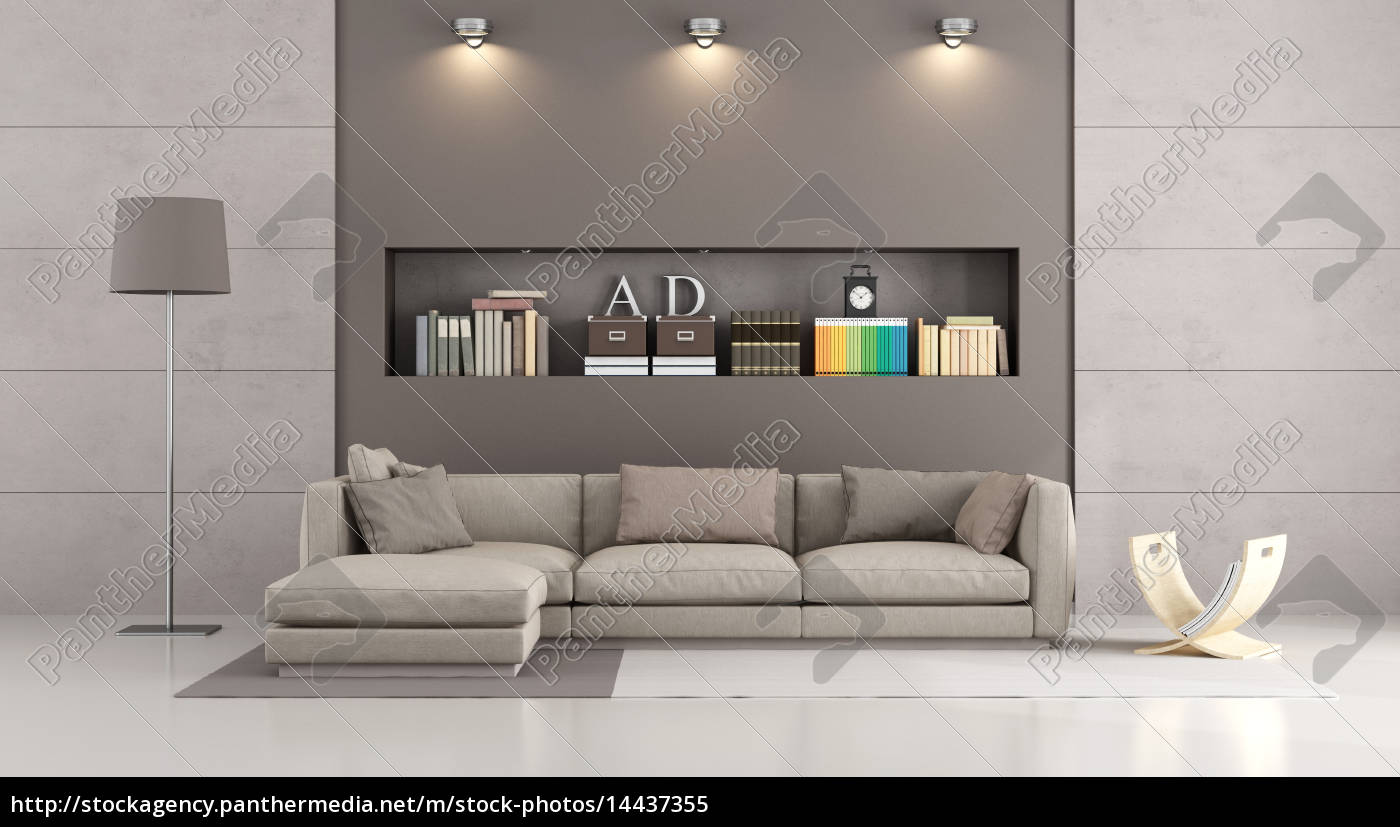 moderne sofa in einem modernen wohnzimmer lizenzfreies. Black Bedroom Furniture Sets. Home Design Ideas