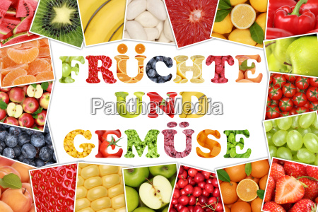 frame with word fruits and vegetables