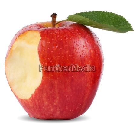 angebissener roter apfel frucht mit biss
