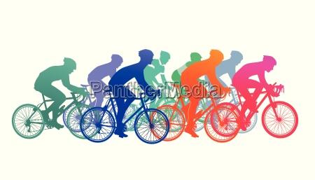 gruppe von radfahrer im fahrradrennen