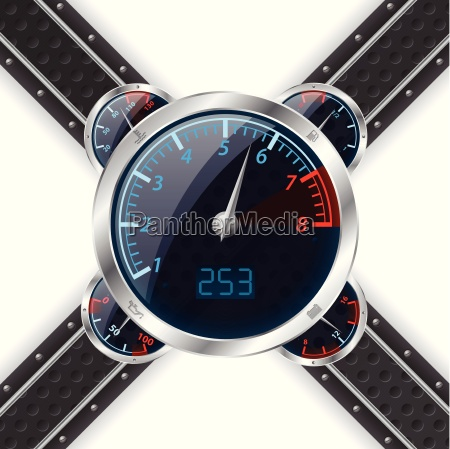 analog rev counter with digital speedometer