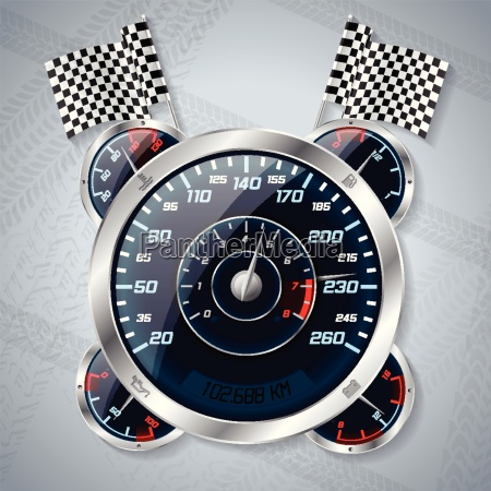speedometer with rev counter and race