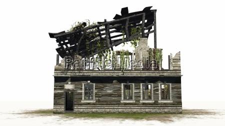 zerstoertes gebaeude ruine auf