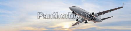 moderne passager fly i flight panorama