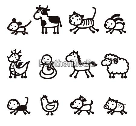 twelve chinese zodiac animals icon