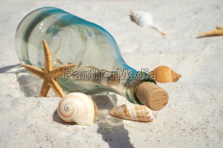 flaschenpost und muscheln liegen auf dem
