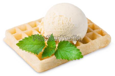 exempted waffle with vanilla ice cream