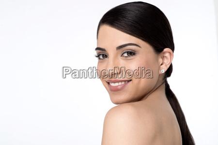 pretty woman looking into camera