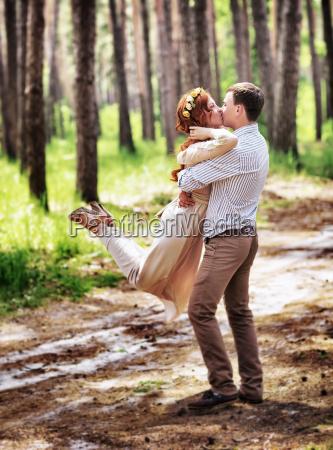 glückliches, paar, im, wald - 14475797