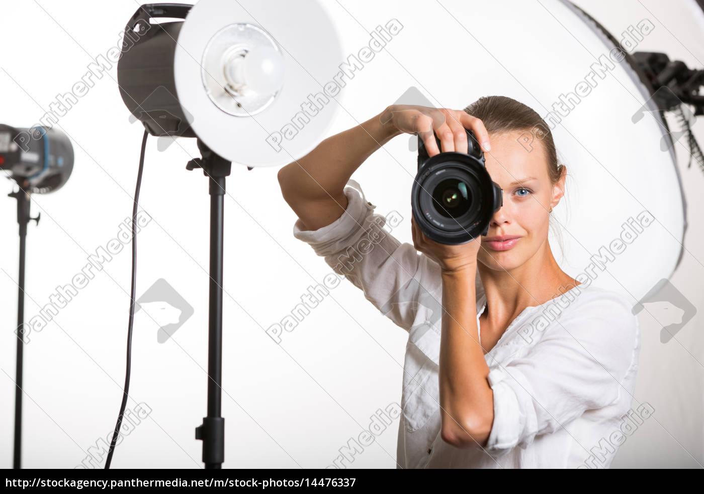 schön, weiblichen, pro, fotograf, mit, digitalkamera, - - 14476337