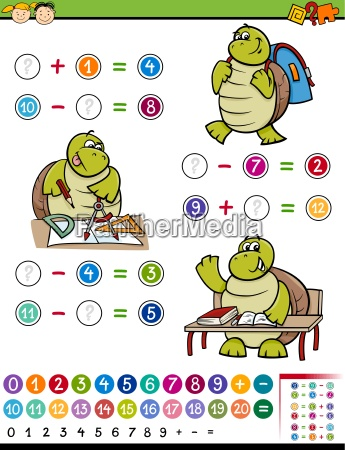 calculating game cartoon illustration