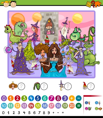 numbering game cartoon illustration