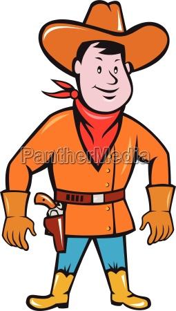 cowboy standing drawing gun cartoon