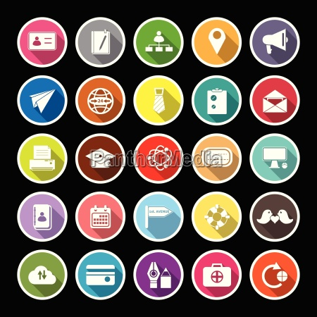 contact connection flat icons with long