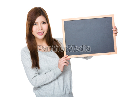 asian woman showing the chalkboard for
