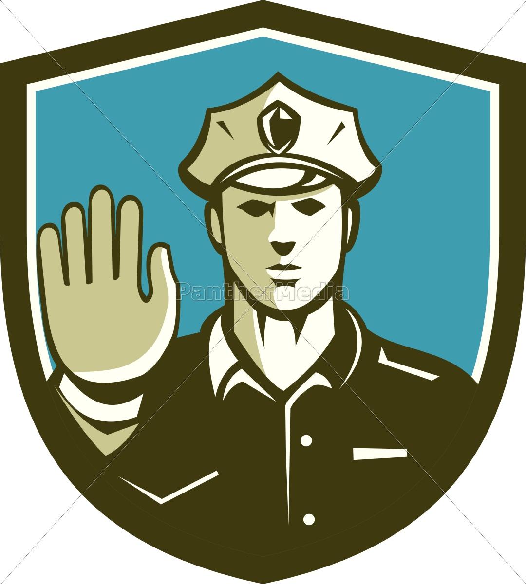 verkehrspolizist, hand, stoppschild, schild, retro - 14505635