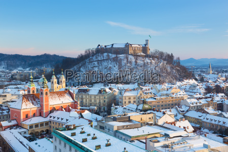 panorama of ljubljana in winter slovenia