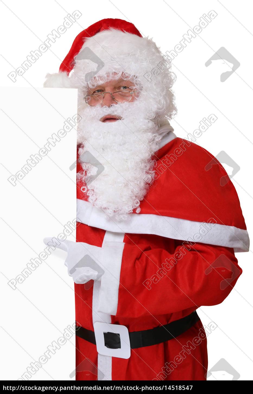 Weihnachtsmann Nikolaus zeigt an Weihnachten auf - Lizenzfreies Bild ...