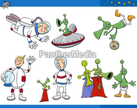 alien cartoon characters set