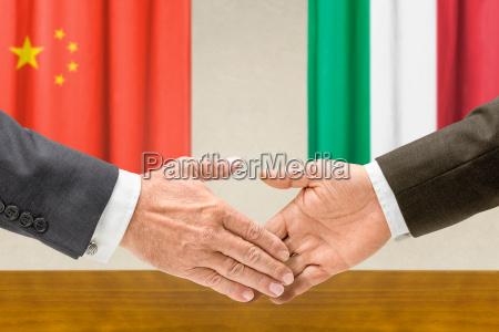representatives of china and italys shake