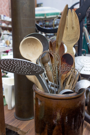 various old kitchen utensils