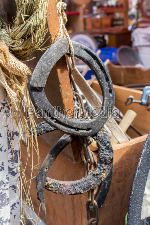 old horseshoes on a flea market