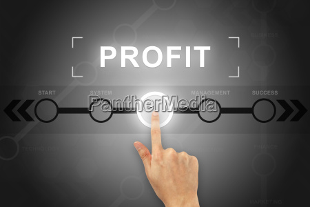 hand clicking financial profit button on