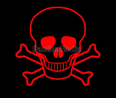 roter totenkopf mit gekreuzten knochen