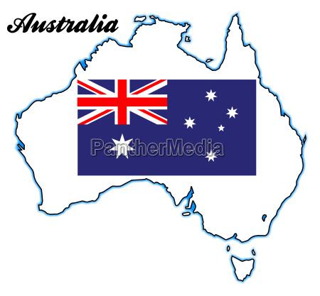 australien karte und flagge