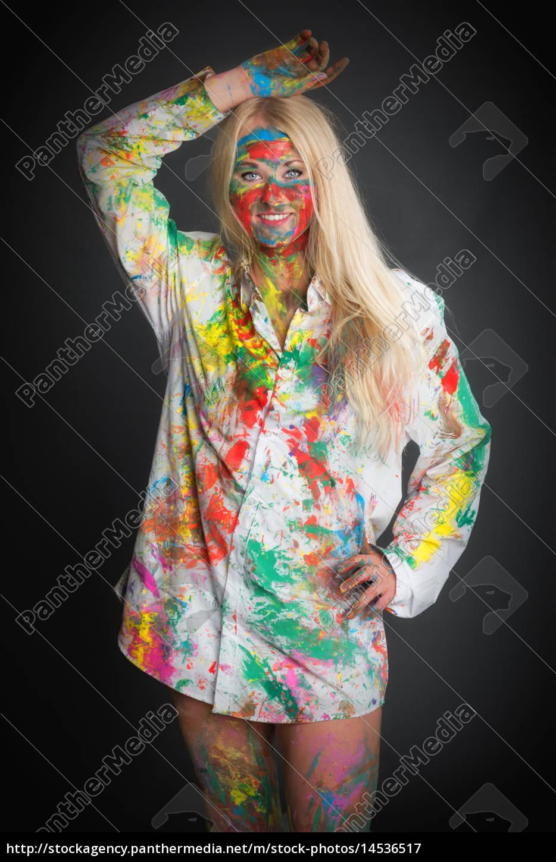 blonde, frau, ist, bunt, angemalt - 14536517