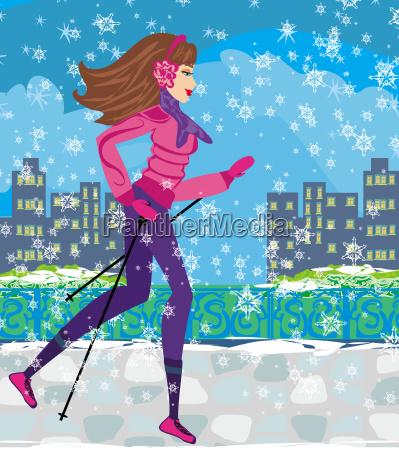 nordic walking aktive frau die