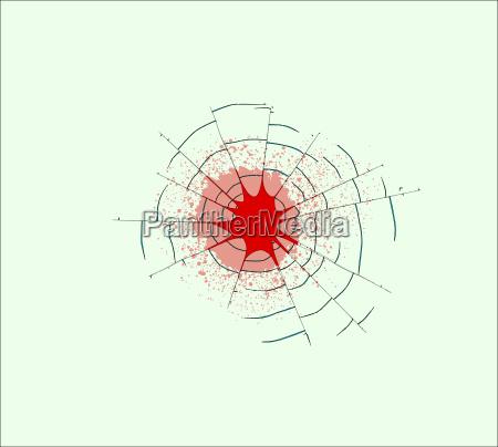 einzelne bullet holes im glas