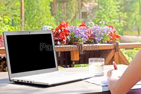 work from home table with laptop