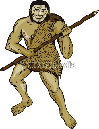 neandertaler halten sich mit dem schlagen
