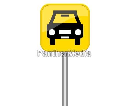 gelbes schild zeigt auto