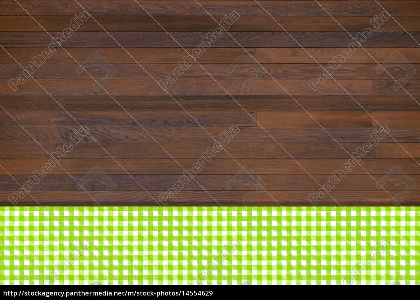 holzhintergrund mit tischdecke gr n weiss stockfoto 14554629 bildagentur panthermedia. Black Bedroom Furniture Sets. Home Design Ideas