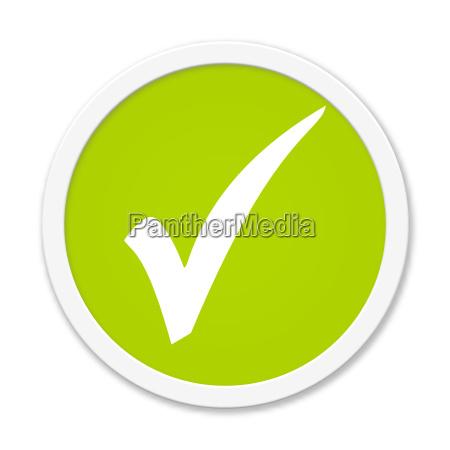 runder hellgruener button haken