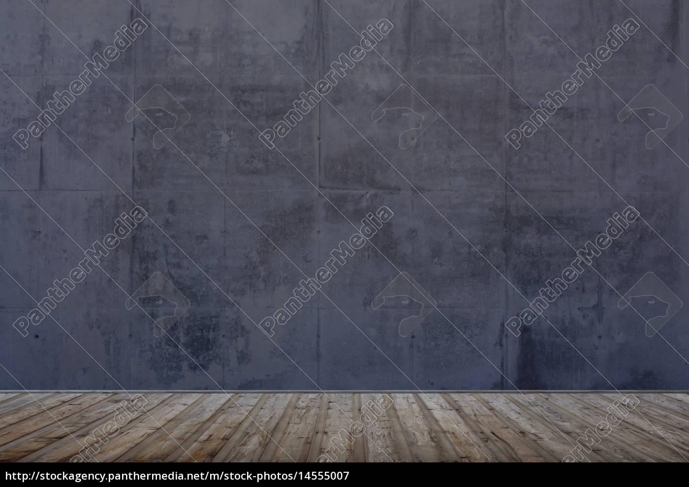 Leerer Raum Mit Grauer Wand Und Holzboden Stockfoto 14555007
