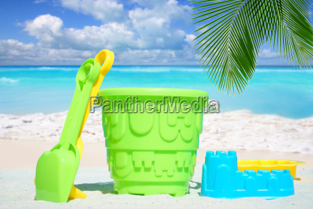 colorful beach toy is standing in