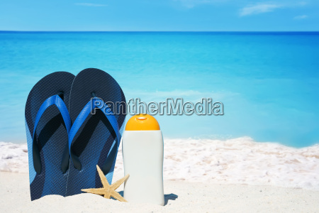 flip flops starfish and a bottle