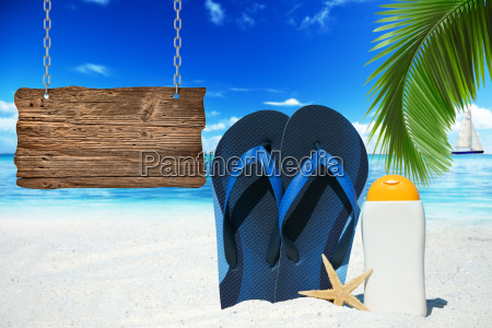 flip flops suntan lotion and a