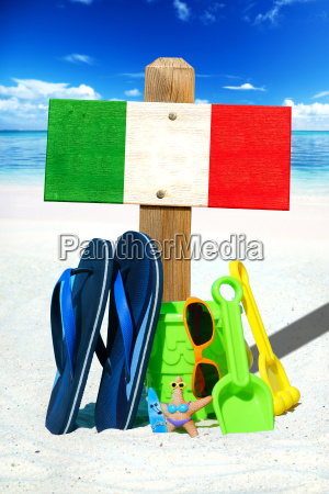 wooden sign with italy flag on