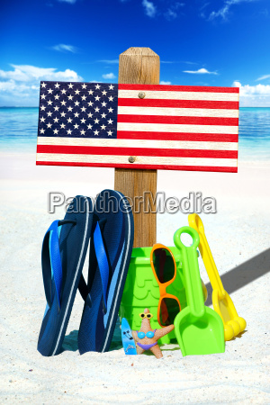 wooden sign with usa flag on