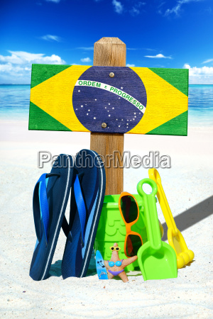 wooden sign with brazil flag on