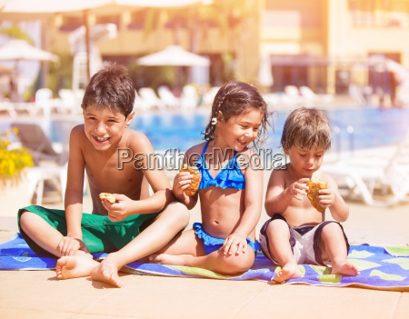happy children near the pool