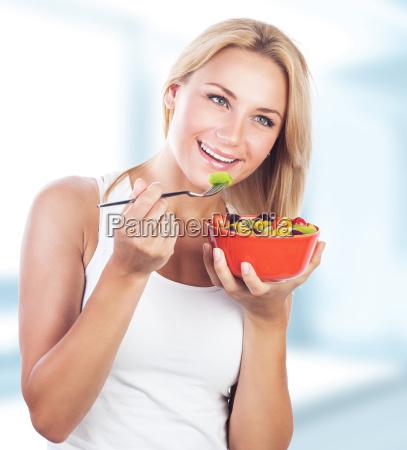 woman enjoy healthy eating